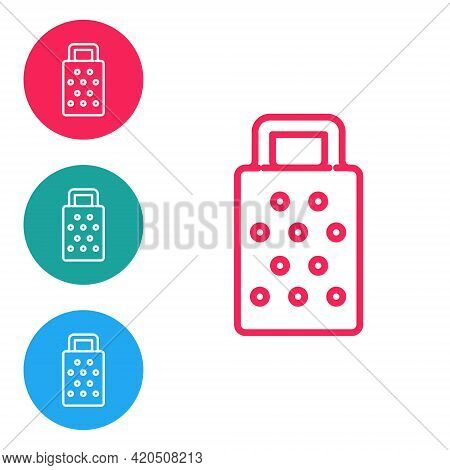 Red Line Grater Icon Isolated On White Background. Kitchen Symbol. Cooking Utensil. Cutlery Sign. Se