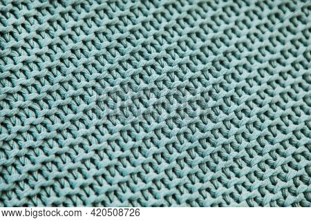 Knitted Simple Pattern On A Cozy Plaid, Background With A Diagonal Blue Knitted Texture, Knitting, C