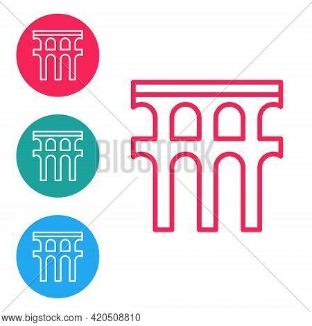 Red Line Aqueduct Of Segovia, Spain Icon Isolated On White Background. Roman Aqueduct Building. Nati