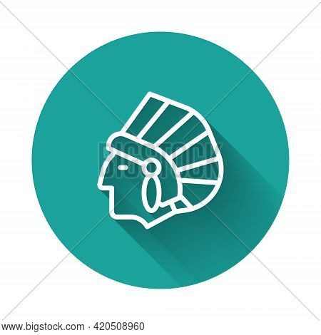 White Line Native American Indian Icon Isolated With Long Shadow. Green Circle Button. Vector