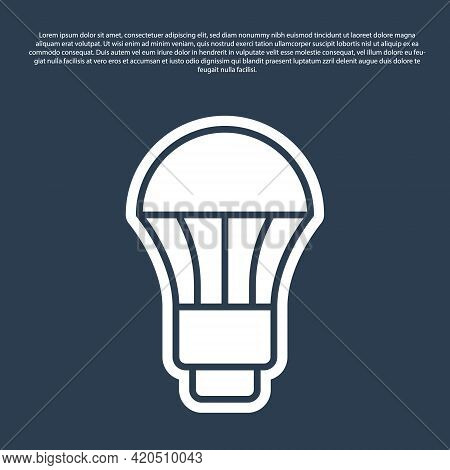 Blue Line Led Light Bulb Icon Isolated On Blue Background. Economical Led Illuminated Lightbulb. Sav