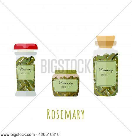 Three Different Glass Bottles With Dried Rosemary