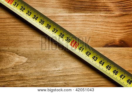 DIY tool, concept image with meter on wooden background, copyspace available