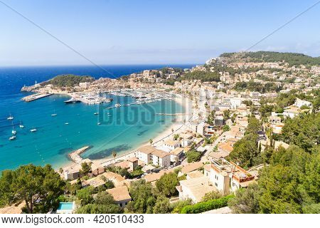 View Of Port Soller Harbour With Ships, Mallorca At Summer
