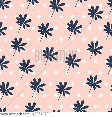 Ornate Trendy Seamless Floral Ditsy Pattern Design Of Exotic Leaves And Polka Dots. Artistic Foliage