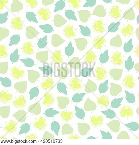 Ornate Trendy Seamless Vector Ditsy Floral Pattern Design Of Exotic Spring Color Leaves. Artistic Ve