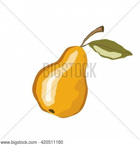 Pear Icon Isolated On White Background. Natural Delicious Fresh Ripe Tasty Fruit. Template Vector Il