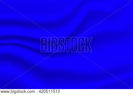 Silk Blue Background. Abstract Vector Pattern With Copy Space. Liquid Wave Texture, Smooth Drapery W