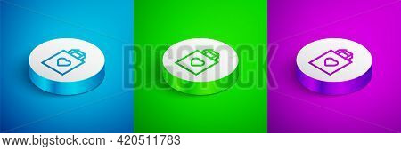 Isometric Line Shopping Bag With Heart Icon Isolated On Blue, Green And Purple Background. Shopping