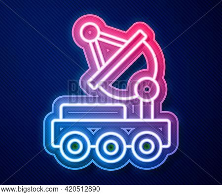 Glowing Neon Line Mars Rover Icon Isolated On Blue Background. Space Rover. Moonwalker Sign. Apparat