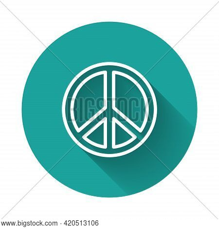 White Line Peace Icon Isolated With Long Shadow Background. Hippie Symbol Of Peace. Green Circle But