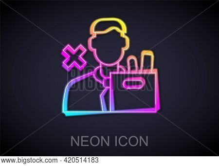 Glowing Neon Line Dismissed Sad Young Man Carrying Box With His Personal Belonging Leaving His Job I