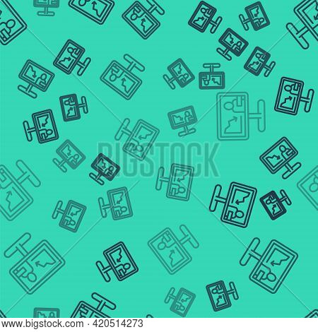 Black Line Global Economic Crisis News Icon Isolated Seamless Pattern On Green Background. World Fin