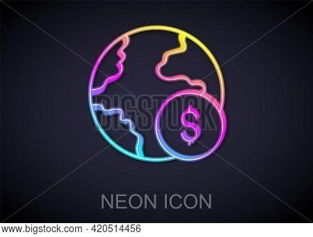 Glowing Neon Line Global Economic Crisis Icon Isolated On Black Background. World Finance Crisis. Ve
