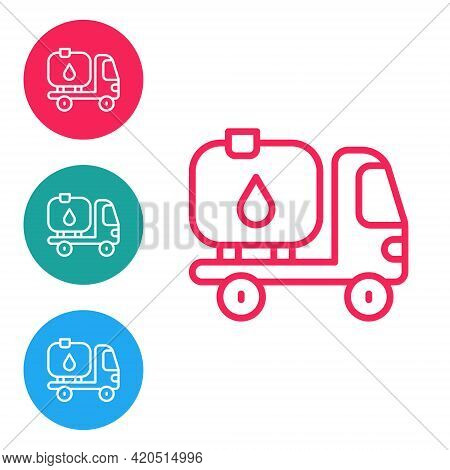 Red Line Fuel Tanker Truck Icon Isolated On White Background. Gasoline Tanker. Set Icons In Circle B