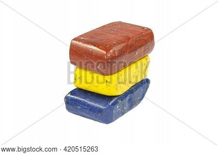 Flag Of Romania With Wax Crayon Upside Down In Different Colors
