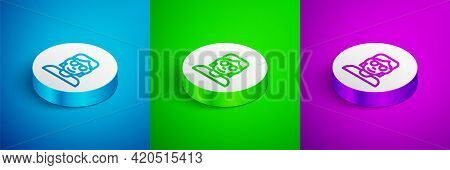 Isometric Line Hacker Or Coder Icon Isolated On Blue, Green And Purple Background. Programmer Develo