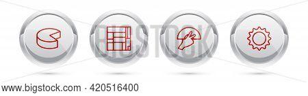 Set Line Cheese, House Edificio Mirador, Fan Flamenco And Sun. Silver Circle Button. Vector