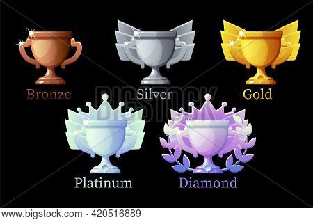 Game Rank Awards Cup, Gold, Silver, Platinum, Bronze, Diamond Cups 6 Steps Animation For Game.