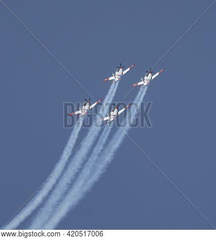 Tel Aviv, Israel - April 15th, 2021:a Four Airplane Aerobatic Team Of The Israeli Air Force, Perform