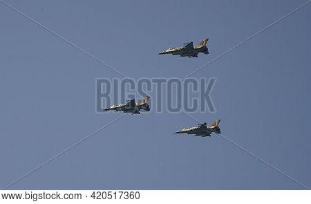Tel Aviv, Israel - April 15th, 2021: Three F-16 Israeli Fighter Planes On The Israeli Air Force Airs