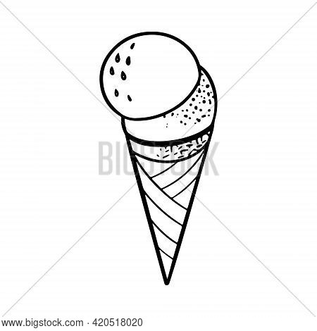 Hand Drawn Doodle Ice Cream Balls In Crispy Waffle Cone. Sketch Vector Illustration For Cafe Menu, C