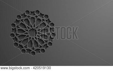 Black Islamic Pattern Geometric Background. Ramadan Kareem Oriental Style Vector Illustration. Ramad