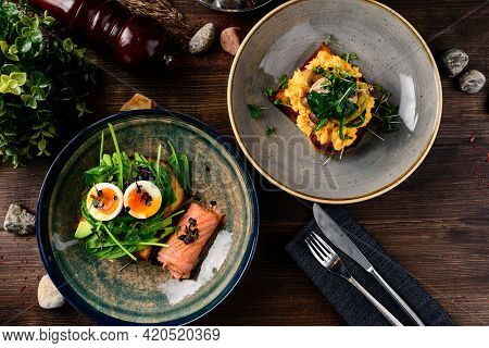 French Toast Brioche, Sandwich With Salmon, Light Morning Breakfast In Restaurant