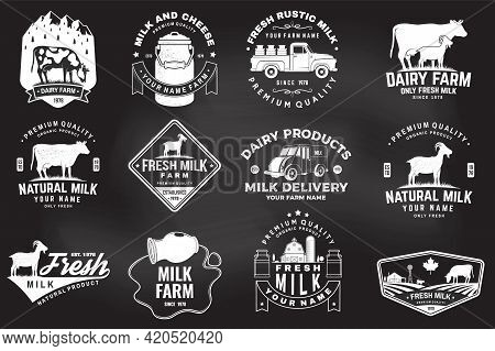 Dairy Farm. Only Fresh Milk Badge, Logo On The Chalkboard. Vector. Typography Design With Cow , Goat