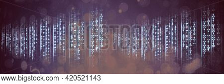 Computer codes processing over black flares background, technology and computer programming concepts. digitally generated image