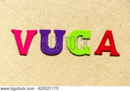 Color Cloth Alphabet Letter In Word Vuca (abbreviation Of Volatility, Uncertainty, Complexity And Am