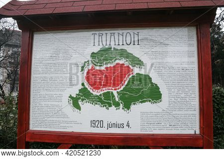 Gyor, Hungary - December 22, 2012: Map Of Greater Hungary In Front Of Monument Dedicated To Nagy Mag
