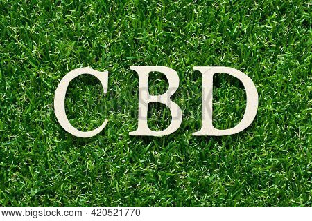 Wood Alphabet Letter In Word Cbd (abbreviation Of Central Business District Or  Cannabidiol) On Gree