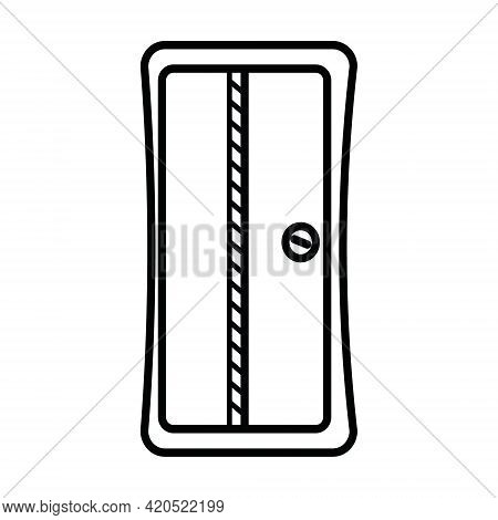 Pencil Sharpener, Office Stationery Black Contour Isolated Vector Flat Style