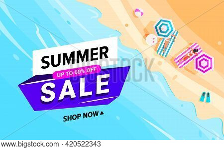 Trendy Colorful Summer Sale Banner Beach Waves Background With Tropical Beach, Little People, Umbrel