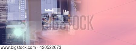 Composition of data processing over businessman working in office with pink background. global business and technology concept digitally generated image.