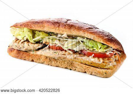 Istanbul Fish Sandwich Fast Food, Grilled Fish Burger Turkish Balik Ekmek, Fried Fish And Vegetables