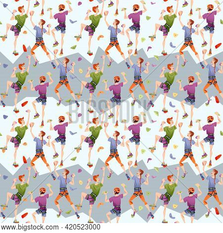 Teens Climb Wall In A Gym. Indoor Climbing. Seamless Background Pattern. Vector Illustration