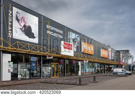 Emmeloord, The Netherlands - May 5, 2021: Facade Furniture Shopping Mall In Dutch Village Emmeloord