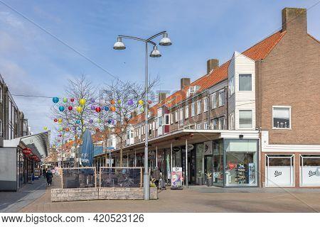 Emmeloord, The Netherlands - May 5, 2021: Main Shopping Street Lange Nering Dutch Village Emmeloord