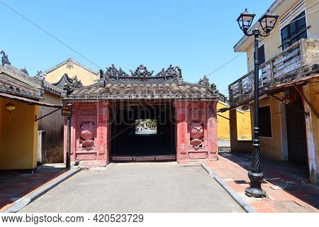 Hoi An, Vietnam, May 15, 2021: View Of The North Entrance Of The Japanese Bridge In Hoi An, Vietnam.