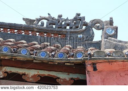 Hoi An, Vietnam, May 15, 2021: Detail Of The Decoration On The Roof Of The Japanese Bridge In Hoi An