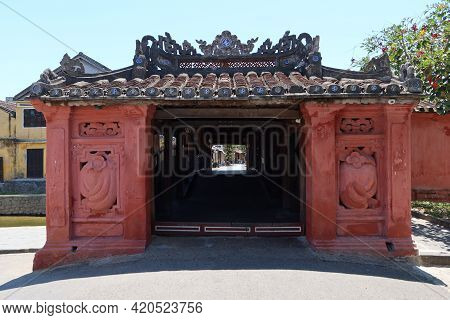 Hoi An, Vietnam, May 15, 2021: South Entrance Of The Japanese Bridge In Hoi An, Vietnam. One Of The