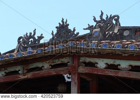 Hoi An, Vietnam, May 15, 2021: Roof Of The Japanese Bridge In Hoi An, Vietnam. One Of The Most Emble