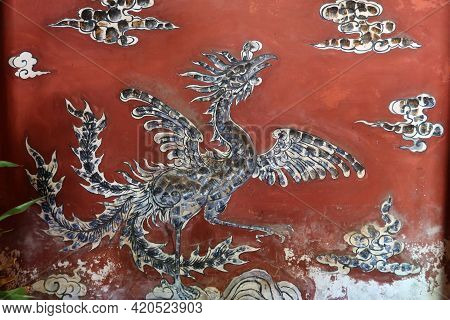 Hoi An, Vietnam, May 15, 2021: Decoration Of The Main Altar Inside The Small Temple Behind The Japan