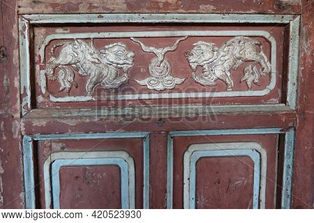 Hoi An, Vietnam, May 15, 2021: Detail Of The Decoration Of A Gate Of The Japanese Bridge In Hoi An,