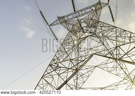 Electric Energy Transmission By High Voltage Power Lines.