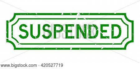Grunge Green Suspended Word Rubber Seal Stamp On White Background