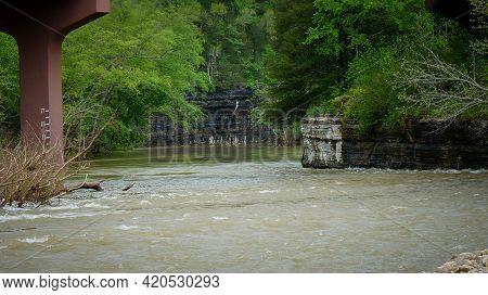 Highway Bridge Over Flooded Buffalo River In Jasper, Arkansas