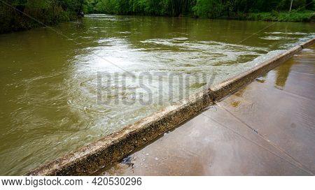 Ponca Low-water Bridge In Arkansas During Flood